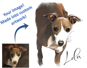 Unframed Custom Watercolor Pet Portrait - created from your image.  FREE SHIPPING WORLDWIDE.