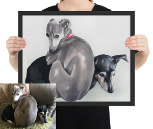 Framed Custom Watercolor Pet Portrait, created from your image. FREE SHIPPING WORLDWIDE.