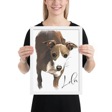 Load image into Gallery viewer, Framed Custom Watercolor Pet Portrait, created from your image. FREE SHIPPING WORLDWIDE.