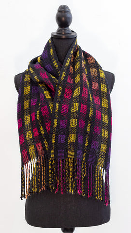 Handwoven, Hand-Dyed Scarf with Indiana Sunset & Bright Gold