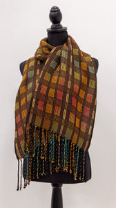 Handwoven Hand-Dyed Shawl - Fall Maples and Oranges with Brown - Amanda Baxter Studio Tencel Yarn