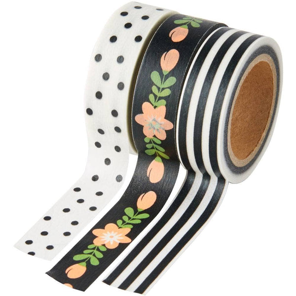 Black and White Washi Tape Set of 3 by Paper Source
