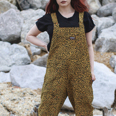 Natural Leopard Print Corduroy Dungarees by Run & Fly