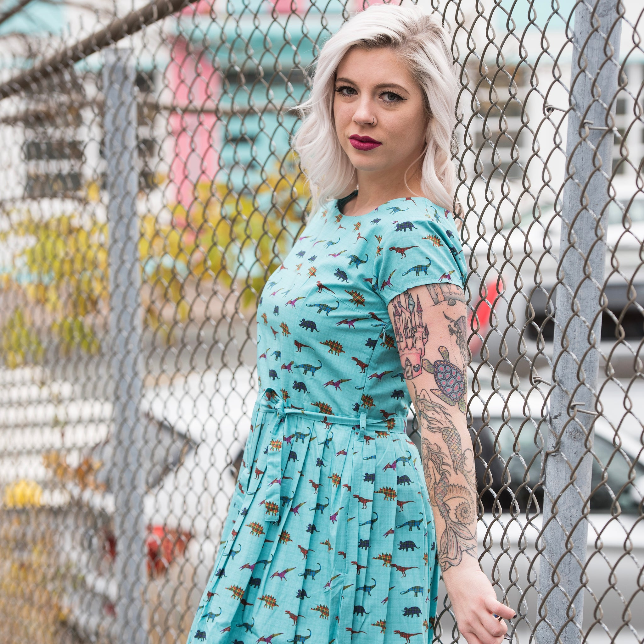 Tartan Dinosaur Dress by Run and Fly