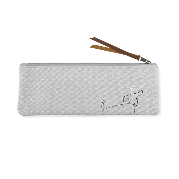 Nosey Dog Woof Small Canvas Pouch