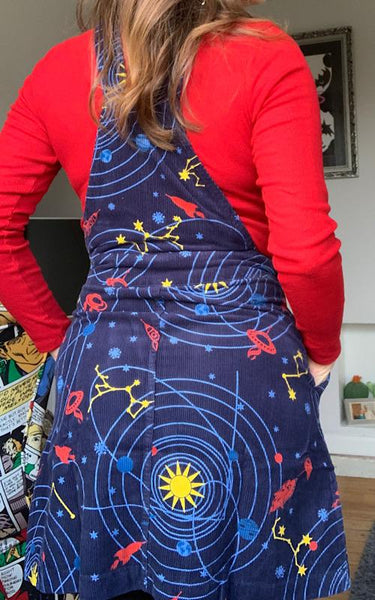 Solar System Corduroy Pinafore by Run and Fly
