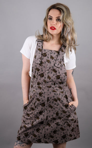 Sloth Corduroy Pinafore by Run and Fly
