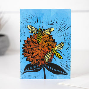 Blue Sky With Zinnia Card by Mimi Williams