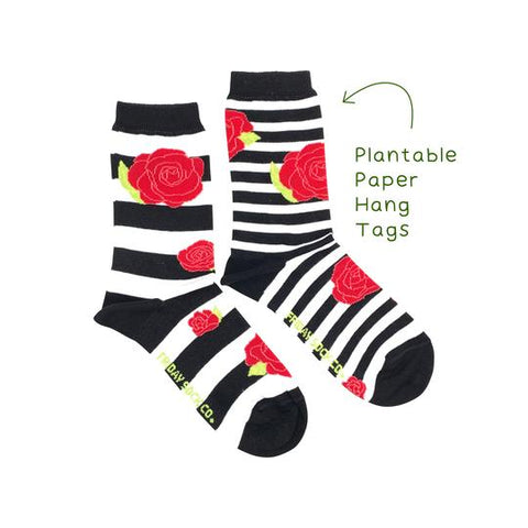 Striped Rose Floral by Friday Sock Co.