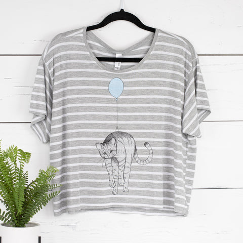 Cat Balloon Boxy Crop Tee