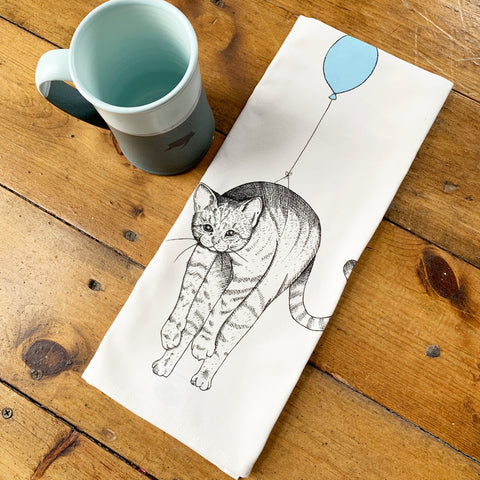 Cat Balloon Tea Towel