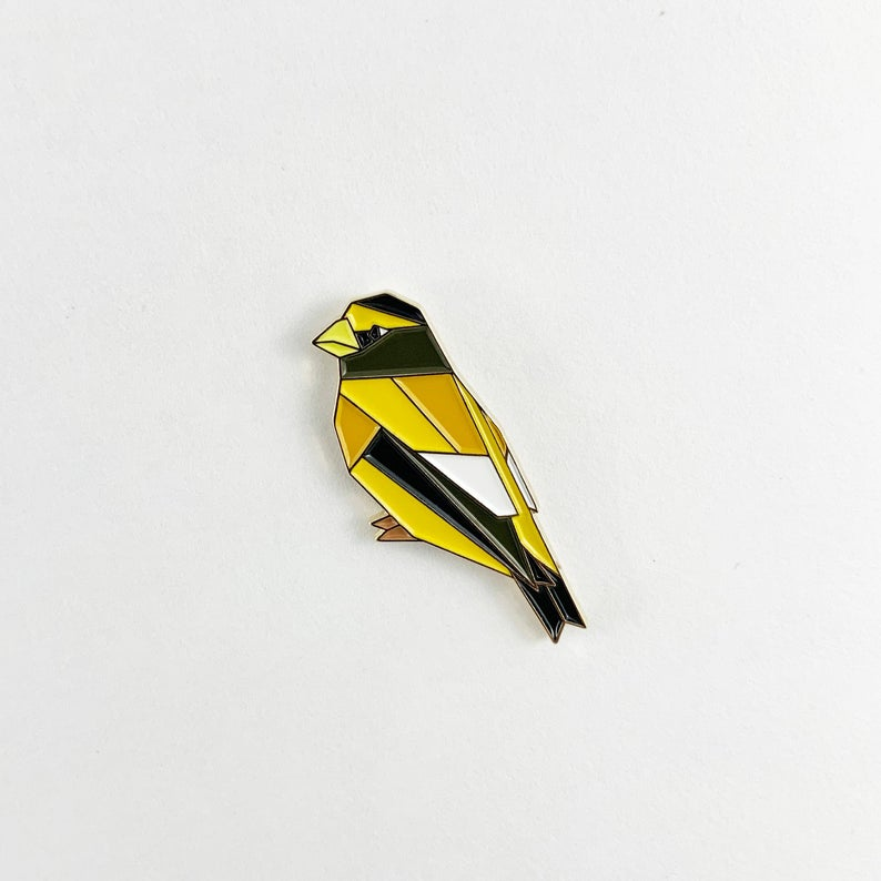 Evening Grosbeak Pin by FoldIT Creations