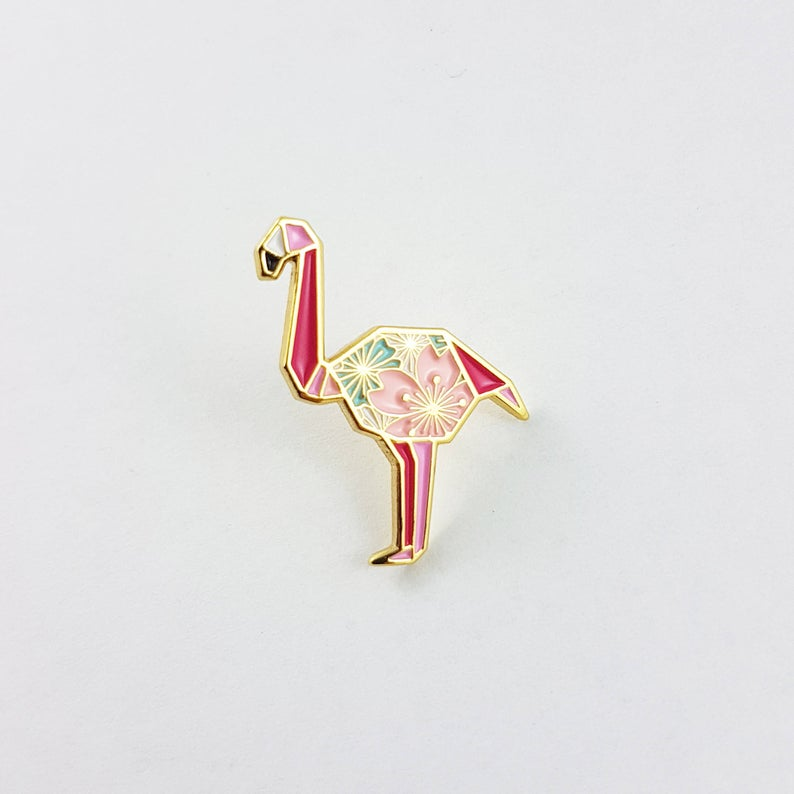 Flamingo Pin by FoldIT Creations