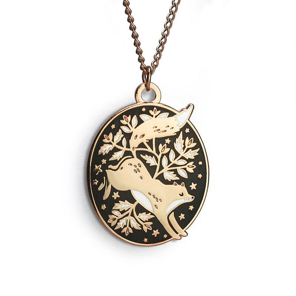 Floral Fox Necklace by Papio Press