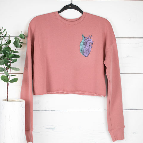 Heart Cropped Fleece Pullover