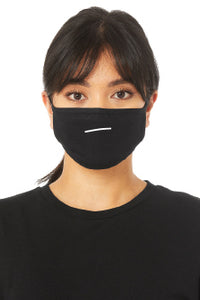 The design on the mask is of a mouth made of a single, downwards slanting line in the shape of a slight frown. A person models this black face mask. It covers their nose, mouth, and chin.