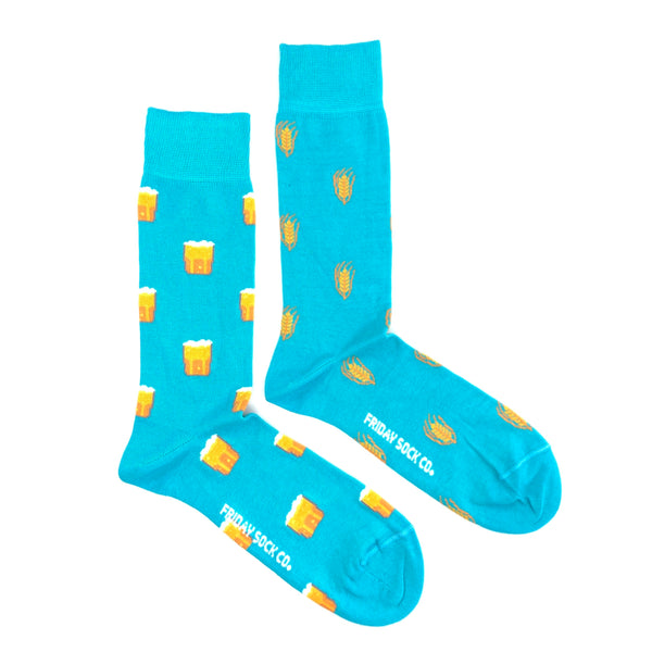 Beer & Barley Turquoise Socks by Friday Sock Co.