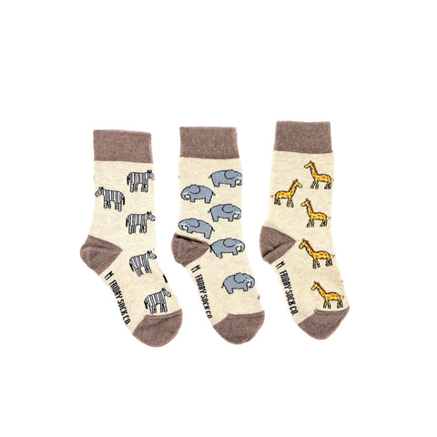 Kid's Zebra Elephant & Giraffe by Friday Sock Co.