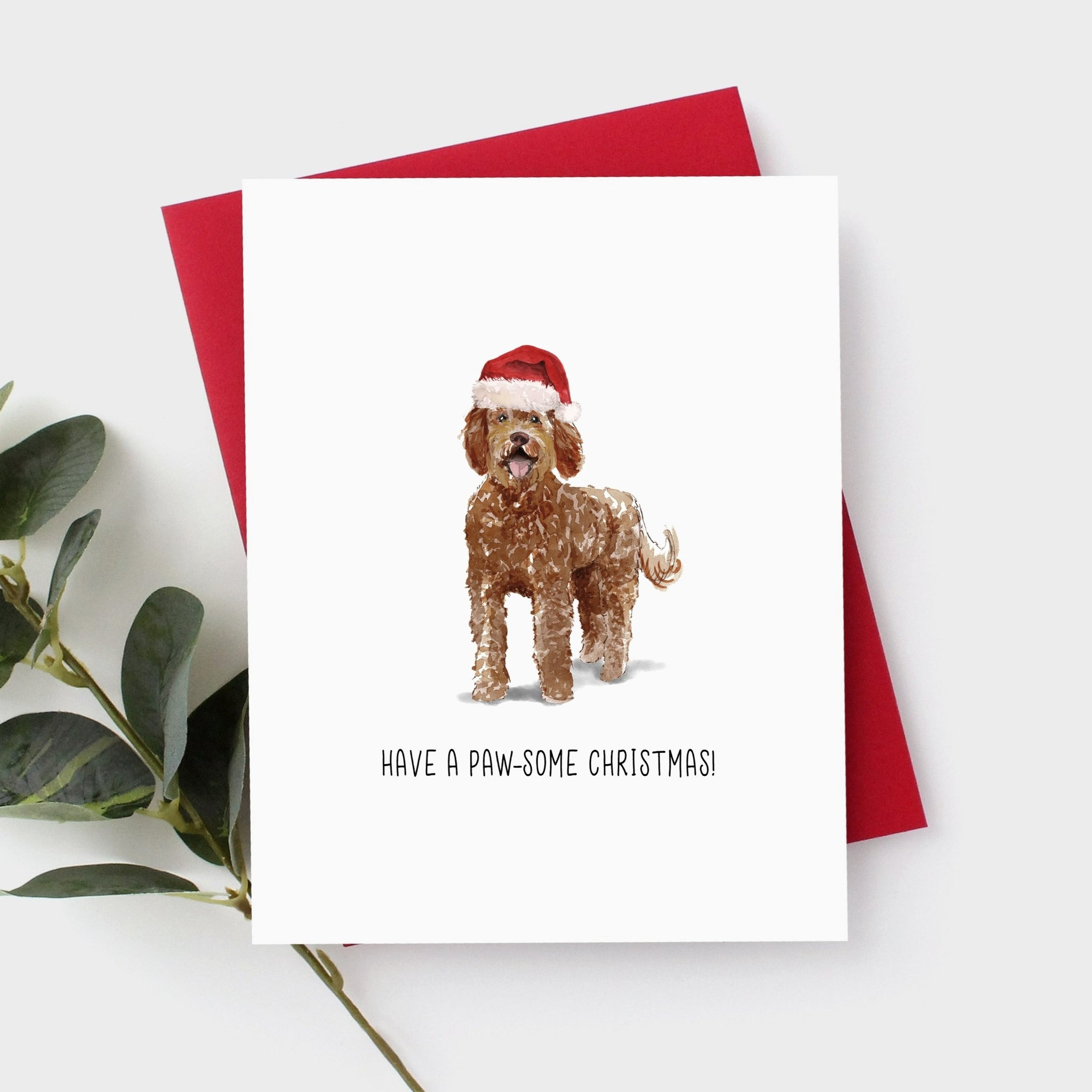 Labradoodle Chocolate Christmas Card by Driven To Ink