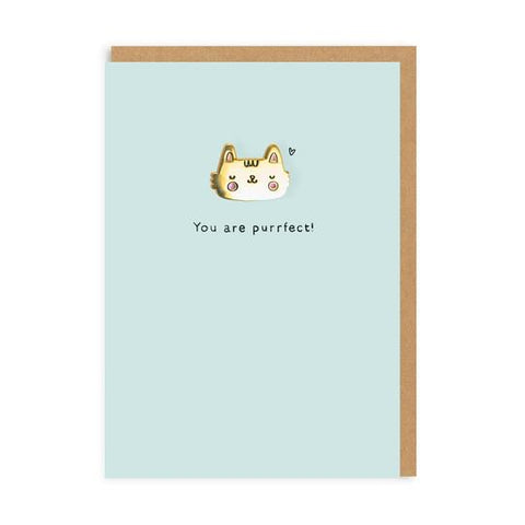 Purrfect Enamel Pin Greeting Card by Ohh Deer