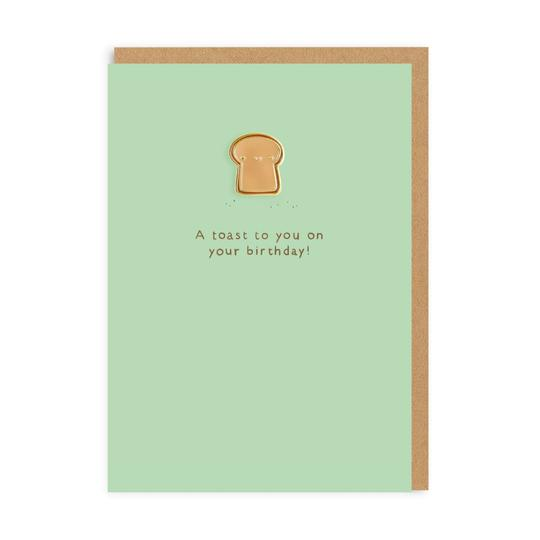Toast Enamel Pin Greeting Card by Ohh Deer