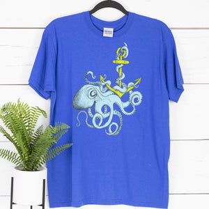 Octopus Anchor Blue Kids Tee