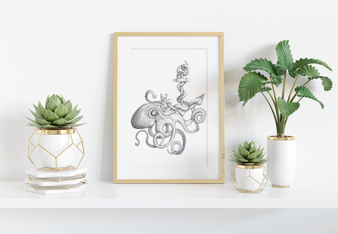 Octopus Anchor Art Print