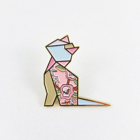 Cat Pink Pin by FoldIT Creations