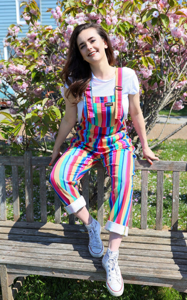 Rainbow Stripe Twill Dungarees by Run and Fly