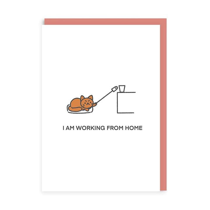 Working From Home Cat Greeting Card by Ohh Deer
