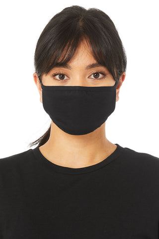 A person models this basic, black face mask. It covers their nose, mouth, and chin.