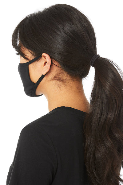 A person models this basic, black face mask. It covers their nose, mouth, and chin. This image is taken from slightly behind the person.