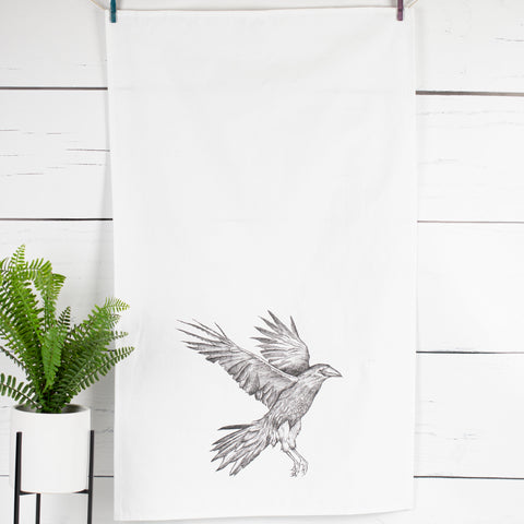 Landing Crow Tea Towel