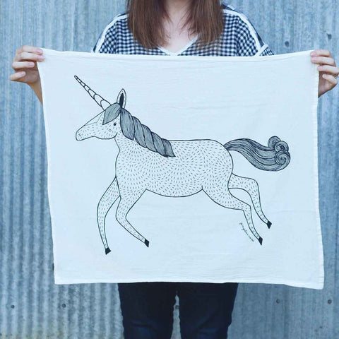 Unicorn Tea Towel by Gingiber