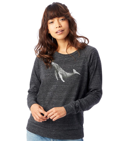 Humpback Whale Slouchy Raglan Pullover