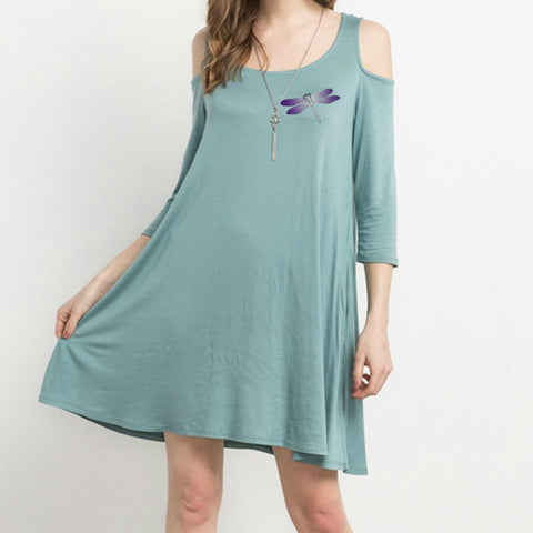 Dragonfly Cold Shoulder Swing Pocket Dress
