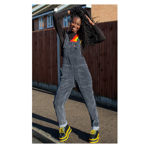 Black Charcoal Stretch Corduroy Dungarees by Run and Fly