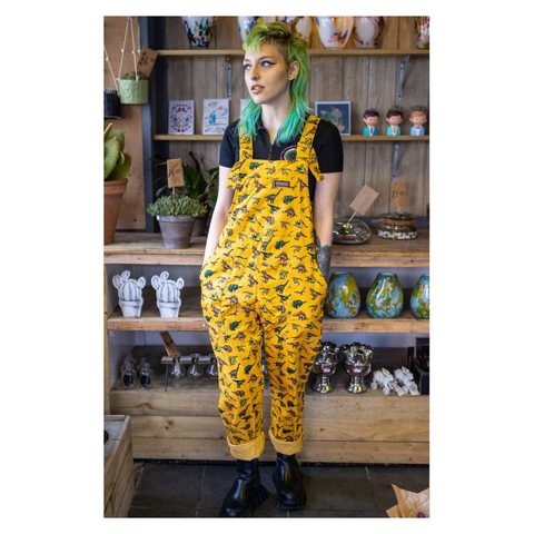 Gold Dinosaur Dungarees by Run and Fly