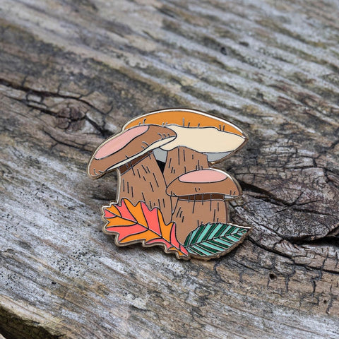 King Bolete Mushroom Pin by FoldIT Creations