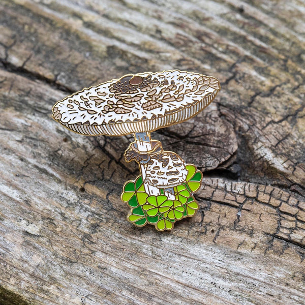 Shaggy Parasol Mushroom Pin by FoldIT Creations