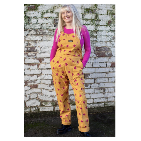 Pink Stars Twill Dungarees by Run & Fly