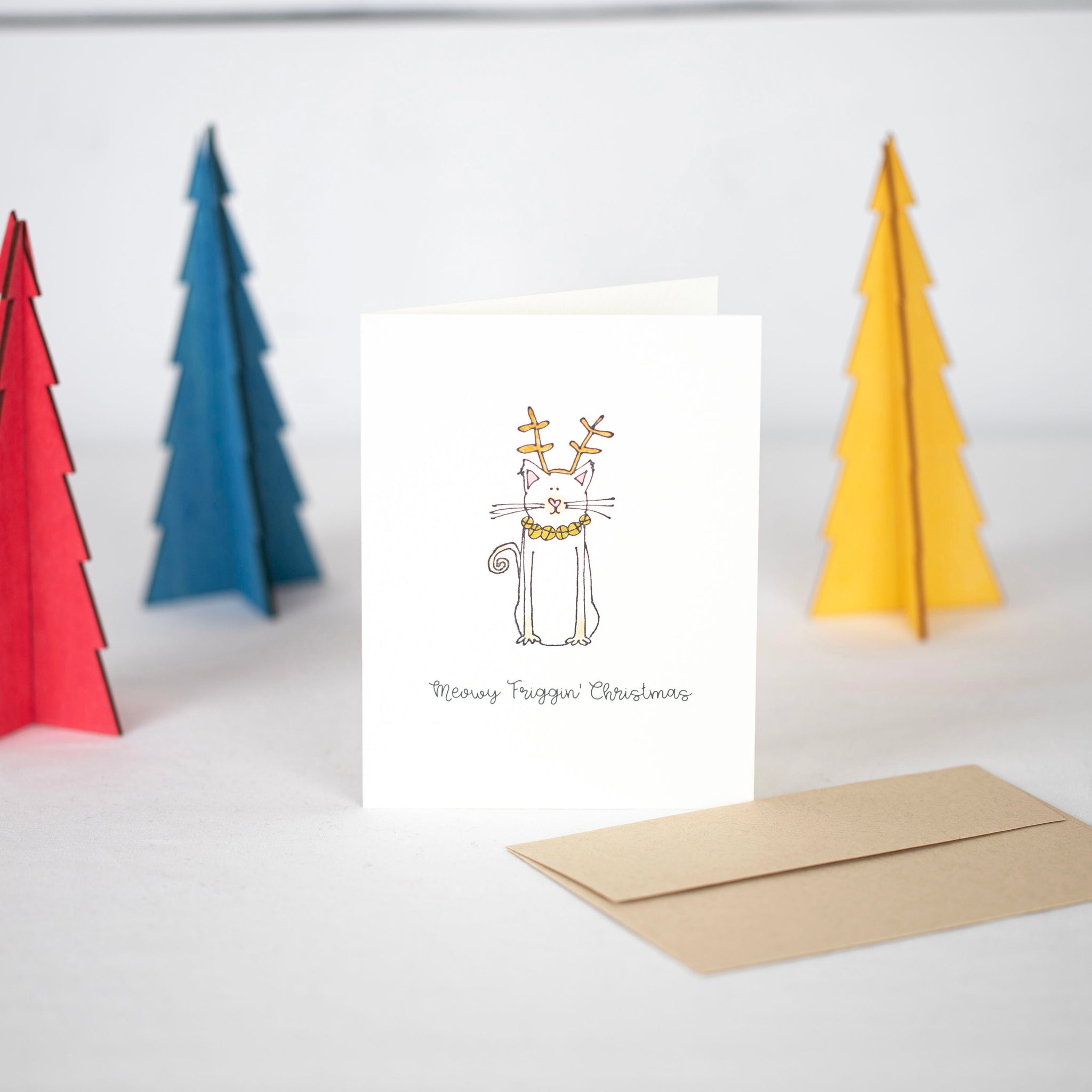 Meowy Friggin Christmas Card by Driven To Ink