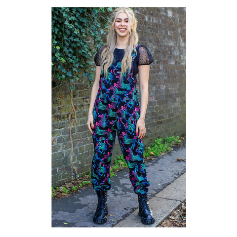 Rainbow Zebra Stretch Twill Dungarees by Run and Fly