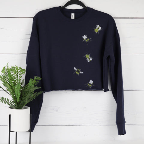 Bees Cropped Fleece Pullover