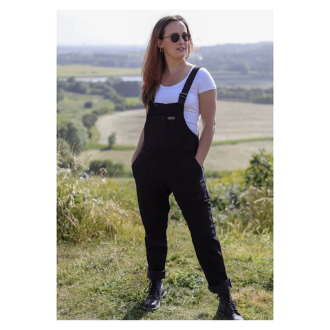 Black Baggy Denim Dungarees by Run & Fly