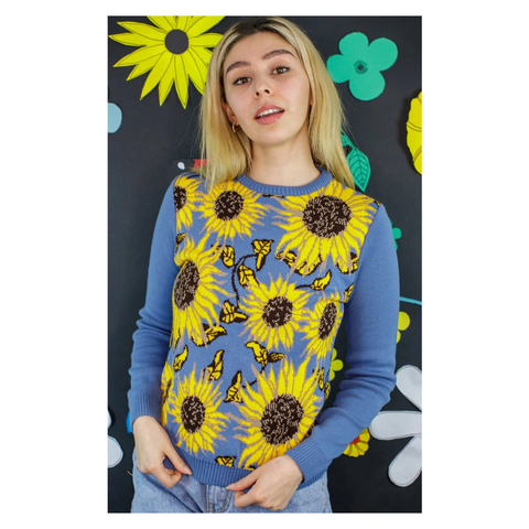 Powder Blue Sunflower Jumper by Run and Fly