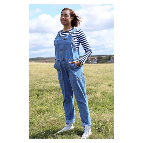 Blue Baggy Denim Dungarees by Run & Fly