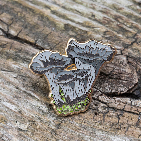 Black Trumpet Mushroom Pin by FoldIT Creations