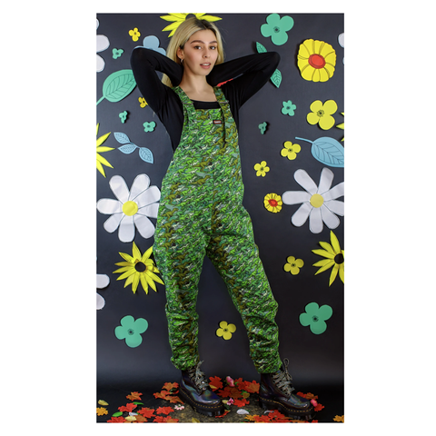 Camo Dinosaur Stretch Twill Dungarees by Run and Fly
