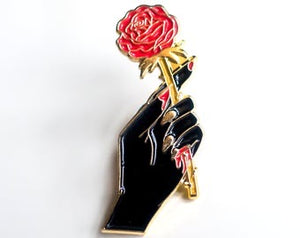 Hand Holding Rose Pin by Glitter Bones Boutique